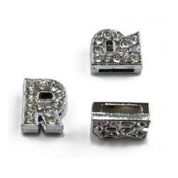 Буква за нанизване метал кристали R дупка 8 мм