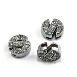 Jewelry metal findings letter S for stringing with smalll crystals hole 8 mm