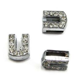 Letter U, metal component with small crystals for craft jewelry making hole 8 mm