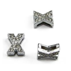 Letter X metal bead for stringing, DIY accessories making with tiny crystals hole 8 mm
