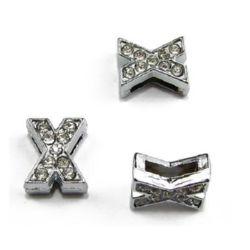 Буква за нанизване метал кристали X дупка 8 мм