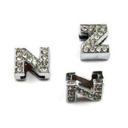 Letter Z, metal component with small crystals for craft jewelry making hole 8 mm