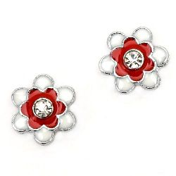 Metal enameled flower for stringing with crystal, two color - white and red 15 mm hole 8 mm