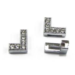 Буквa за нанизване метал кристали Г дупка 8 мм