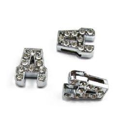 Буквa за нанизване метал кристали Д дупка 8 мм