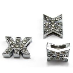 Cyrillic letter Ж for stringing, metal component with glossy crystals for handmade jewelry 8 mm