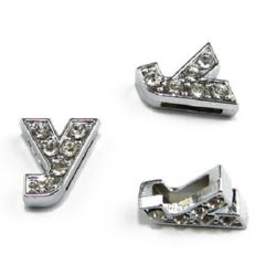 Metal component cyrillic letter У for stringing with tiny crystals hole 8 mm