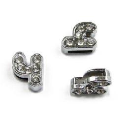 Буквa за нанизване метал кристали Ч дупка 8 мм