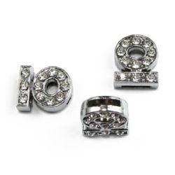 Буквa за нанизване метал кристали Ю дупка 8 мм