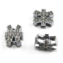Metal bead stringing element in the shape of  zodiac sign Pisces with small crystals 11 mm hole 8 mm