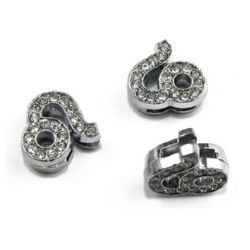 Zodiac sign Leo, metal element for stringing with dazzling crystals 11 mm hole 8 mm