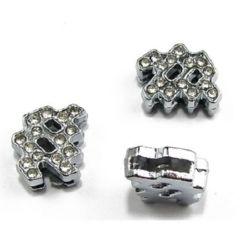 Зодия ВОДОЛЕЙ за нанизване метал кристали 11 мм дупка 8 мм