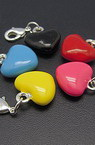 Colorful pendant metal 16x30x7 mm hole 3.5 mm heart