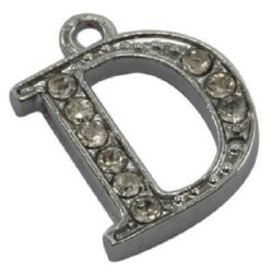 Metal finding - pendant with crystals letter D 14.5x11.5x2.5 mm hole 1.5 mm color silver