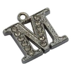 Metal pendant with crystals letter M 15x15x2.5 mm hole 1.5 mm color silver