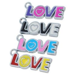 "Painted metal pendant with glazed inscription ""Love"" 32x11x2 mm hole 3 mm"