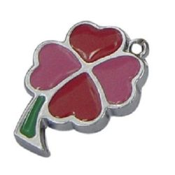 Enameled metal clover pendant, paint in red  16x23x2 mm hole 2 mm