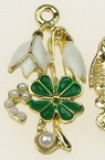 Glazed snowdrop and  clover with pearls, metal pendant for jewelry making 30x15 mm hole 2 mm color gold - 2 pieces