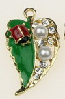 Pendant metal leaf with pearls, crystals and ladybug 33x18 mm hole 2 mm color gold - 2 pieces