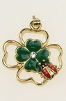Pendant metal crystal clover ladybug 30x22 mm hole 2 mm color gold -2 pieces