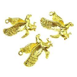 Висулка метална орел 26x21x5 мм дупка 1 мм цвят злато -5 броя