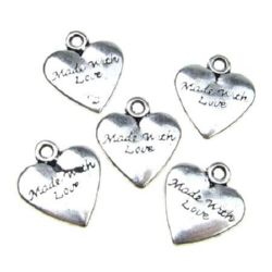 Висулка метална сърце 20x17.5x3 мм дупка 3 мм цвят сребро -5 броя