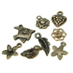 Assorted shapes and sizes, metal pendants  13~20x11~17x1.5~14 mm hole 1-4 mm color copper - 3 pieces ~ 20 grams