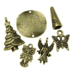 Metal pendants, assorted forms and sizes 15.5~ 43x7~ 32x1.5~4 mm hole 1-4 mm color antique bronze - 20 grams