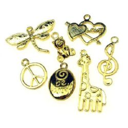 Metal pendants tibetan style, assorted shapes and sizes 15.5~43x7~ 32x1.5~4 mm hole 1-4 mm color gold - 20 grams