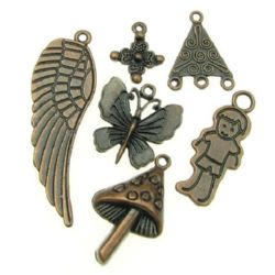 Metal pendants tibetan style, assorted forms and sizes 15.5~43x7~ 32x1.5~4 mm hole 1-4 mm color copper - 20 grams