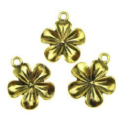 Pandantiv floare metalică 23x20x4 mm gaură 2 mm culoare aur vechi -5 bucăți