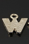 Letter W shaped metal charm, flat bead with ring 12.5x11.5x1.5 mm - 5 pieces