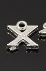 Metal flat pendant - letter X with ring 12x10x1.5 mm - 5 pieces