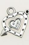 Μενταγιόν μεταλλική καρδιά 23x26x3 mm τρύπα 3 mm χρώμα παλαιωμένο ασημί -5 τεμαχια