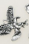 Pendant metal eagle 25x31x3 mm hole 2.5 mm color old silver - 4 pieces