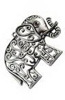 Pandantiv metalic elefant 61x47x4 mm orificiu 3 mm culoare argintiu