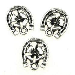 Lucky pendant, metal bead clover with horseshoe 18x16x2 mm hole 2 mm color silver - 10 pieces