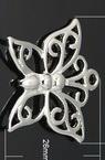 Висулка метална пеперуда 26x27x3 мм дупка 3 мм цвят сребро -2 броя