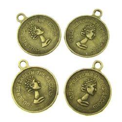 Висулка метална паричка 20x1 мм дупка 1.5 мм цвят антик бронз -10 броя