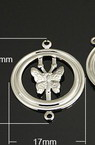 Свързващ елемент метал кръг с пеперуда 22x17x2 мм дупка 1 мм цвят бял -5 броя
