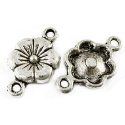Свързващ елемент метал цвете 10x28 мм дупка 2 мм цвят сребро -10 броя