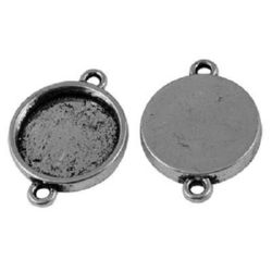 Metal base connecting element 26x19x3.5 mm tile 15 mm hole 2 mm color old silver -5 pieces