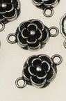 Свързващ елемент метал роза 20x12x3.5 мм дупка 2 мм цвят старо сребро -10 броя