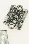 Placă metalică de conectare 15x22x2 mm gaură 2,5 mm culoare argint -5 piese