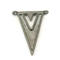 Element de conectare metal 34x25.5x4 mm gaură 2 mm culoare argint -5 piese