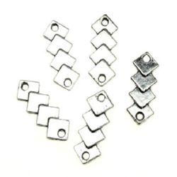 Element de fixare metal 19x7x2 mm gaură 1,5 mm culoare argintiu -10 bucăți