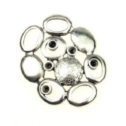 Elipsuri metalice de conectare 33,5x27x3,5 mm gaură 5x7 mm culoare argintie