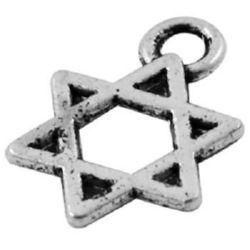 Pandantiv stea metalică 9x1 mm orificiu 2 mm culoare argintiu -50 bucăți