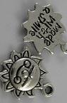 Pandantiv metal soare 16x12,5x2 mm gaură 2 mm culoare argintiu -10 bucăți