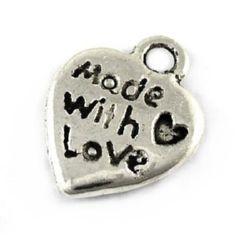 Pandantiv inimă metalică 10x12.2x1.8 mm gaură 2 mm culoare argintiu -10 bucăți